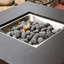 round lava rock outdoor fire pit square filler