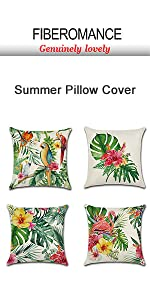 tropical bird leafs summer pillow cover