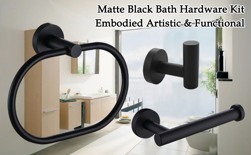 Scene graph of 3 piece bath hardware set with description