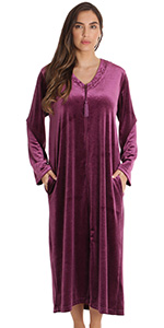 zip front lounger robe for women duster housecoat pajama loungewear velvet tassel embroidery