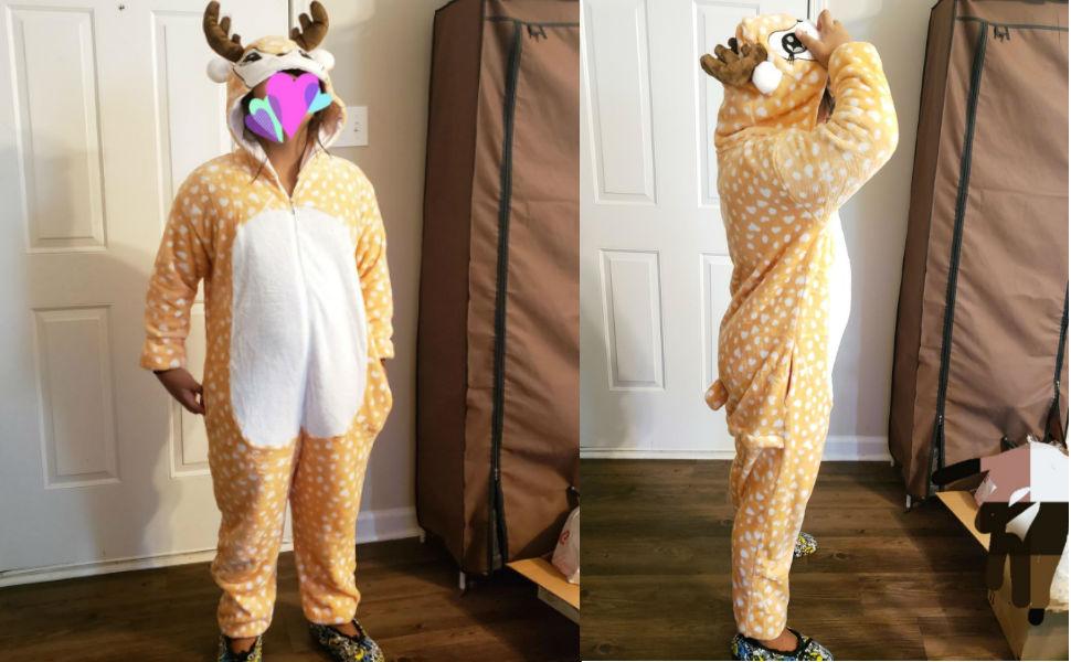 tiger fox deer reindeer adult onesie pajamas for women men girls onsie pijamas halloween costumes