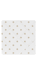 Gold and White Star Fabric Memory Memo Photo Bulletin Board for Celestial Collection