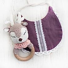 deer teether crochet deer teether ring wooden teether soft baby toys infant newborn gift paci clip