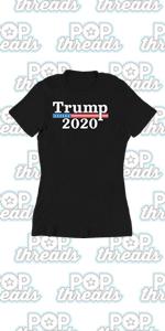 Donald Trump 2020 Pro Trump MAGA Merchandise USA Graphic Tee T Shirt for Women