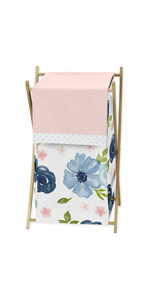 Navy Blue and Pink Watercolor Floral Baby Kid Clothes Laundry Hamper
