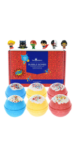 6 Superhero Bubble Bath Bombs with Surprise Toys Insider for Boys Kids Fizzies Gift Set