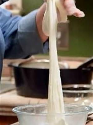 Mozzarella Stretching...This cheese was Milk 30 minutes ago!!