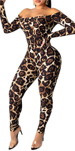 Sexy Off Shoulder Bodycon Leopard Jumpsuit for Women