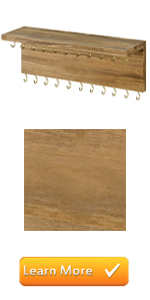 natural brown wood wall mounted 26 hook jewelry organizer
