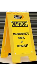 Caution Maintenance Work in Progress, Folding Floor Sign, High-Impact Plastic