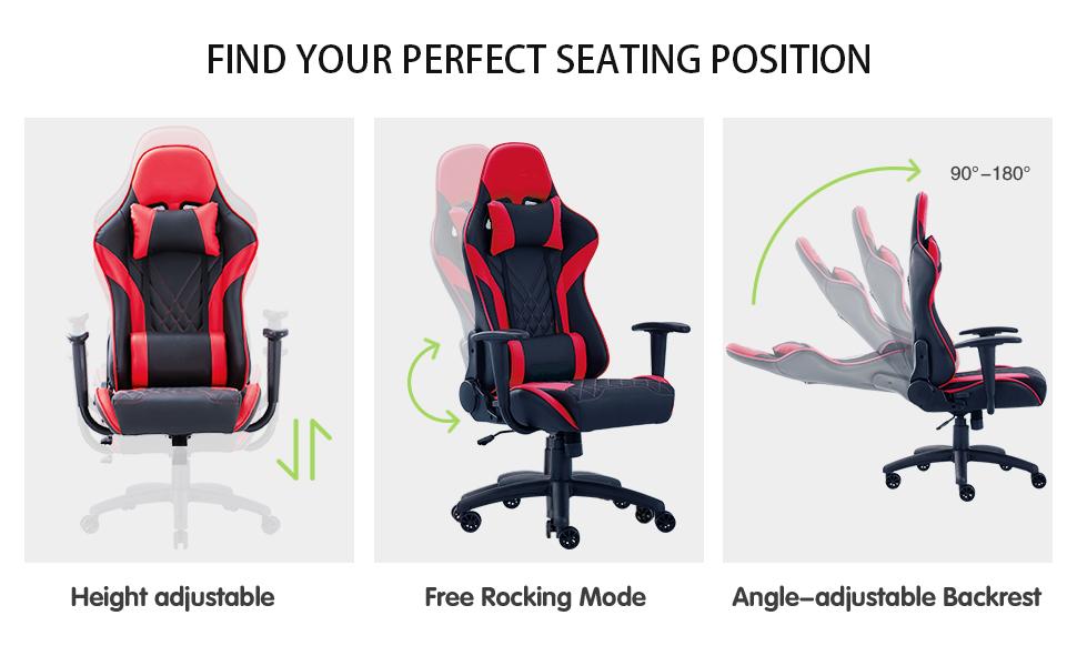 Eureka Ergonomic Video Gaming Chair ,GX2, Red