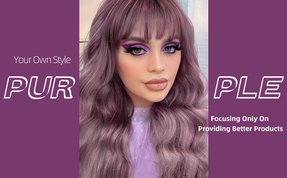 Pink Purple Wig With Bangs