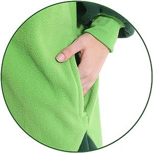 pockets design Details of pea costume adult pea onesie pea pajamas