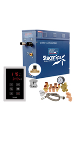 Steamspa Premium 12 Kw Quickstart Acu Steam Bath Generator Package With Built In Auto Drain In Polished Chrome Steam Generator Kit With Touch Screen Auto Drain Steamhead 240v 38a Prt1200ch A