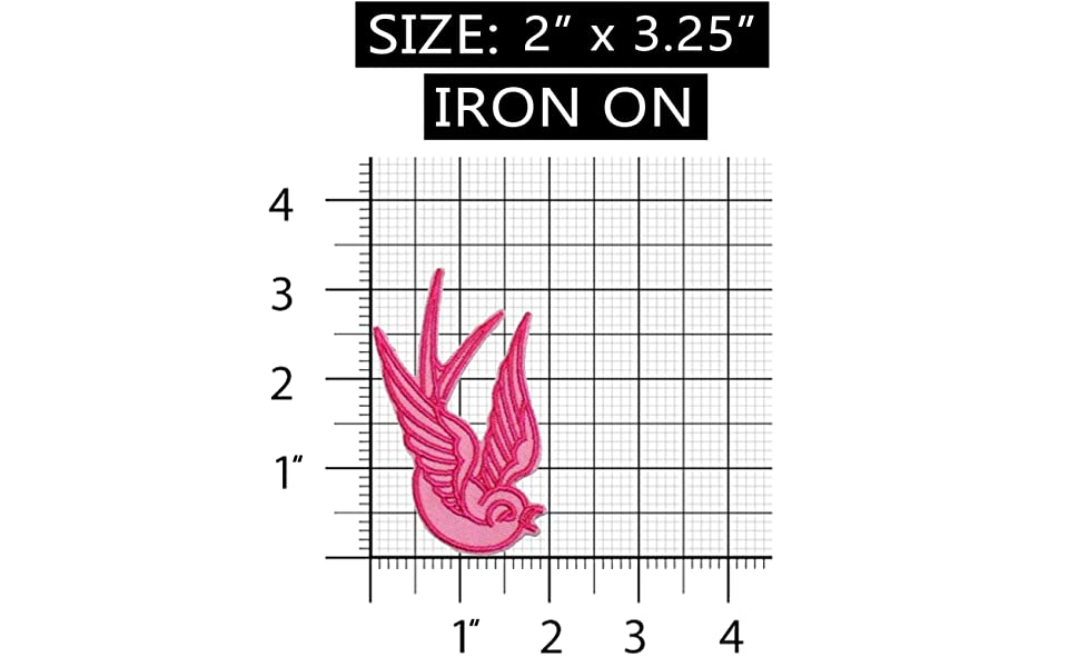 Set of 2 Pink Swallow Patch