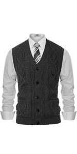 mens cable sweater vest sleeveless button down sweater v-neck knit cardigan with pockets