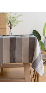 Tablecloth Rectangle Table Cloth Cotton Linen Wrinkle Free Anti-Fading Tablecloths