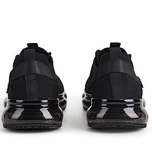 black air cushion sneakers