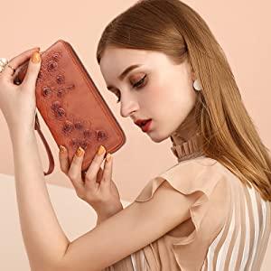 MEITRUE brown wallets for women rfid blocking wristlet women brown leather women wristlet wallet