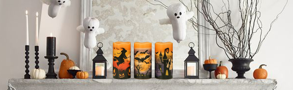 Halloween Flameless Flickering LED Candles with 6-Hour Timer