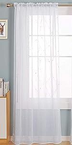 Rod Pocket White Sheer Curtains 84