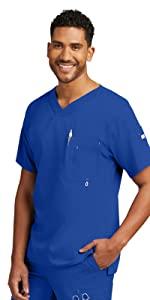 model wearing Men's Grey's Anatomy Modern Fit V-Neck Scrub Top