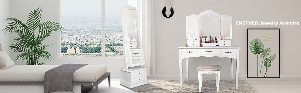 Luxury Stand Jewelry Armoire Set,72 LED Jewelry Cabinet with 2 Drawers Rotating Base 17W x 14D x 64H in White