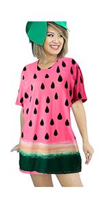 Goodstoworld Women Teen Girls Short Sleeve T-Shirt Dresses Halloween Fruit Party Costume Dress S-L