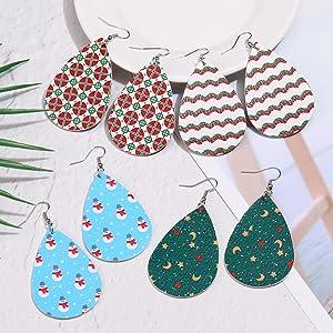christmas leather earrings