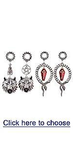 Dark Style Ear Tunnels Plug Dangle Charms Body Piercing Jewelry Stainless Steel Ear Gauges for Women