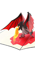 PopLife Fire Breathing Dragon 3D Pop Up Father's Day Card Pop Up Happy Birthday Card Congratulation