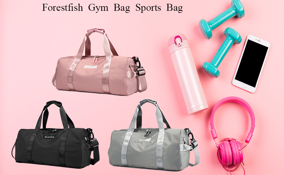 Plambag Sports Gym Bag with Wet Pocket /& Shoe Compartment Gray Water Repellent Travel Duffel Tote Bag for Men and Women