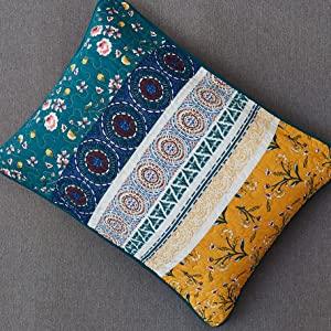 lovely bright vibrant floral garden patchwork summer bohemian pillow case sham matching bedspread