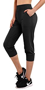 Jogger Capris for Women Buttery Soft Workout Yoga Pants High Waist with Pockets Running Lounge