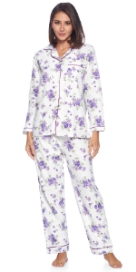 Women's Flannel Long Sleeve Button Down Pajama Set floral