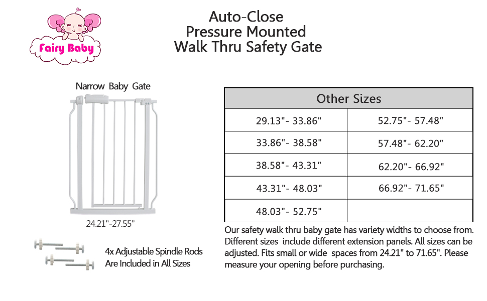 narrow baby gate walk through  safety gates for kids or pets dogs