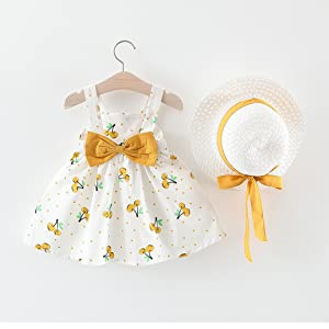 Baby Girl Sleeveless Summer Princess Bow Dress with Hat Sundress Cotton