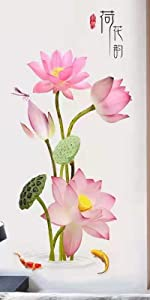 Pink Lotus Flower Wall Decal