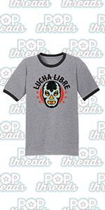 Wrestling Retro Vintage Wrestler Heel Babyface Graphic Tee Ringer T-Shirt