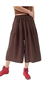 Womens Linen Pleated Capris