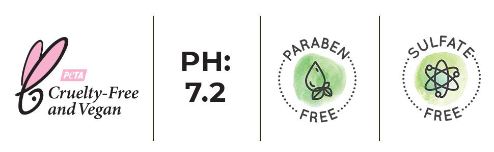 cruelty free, vegan, natural ingredients, paraben free, sulfate free