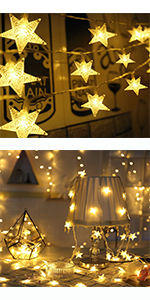 50 LED Warm White USB Plug in & Battery Operated Christmas Star String Lights indoor outdoor bedroom