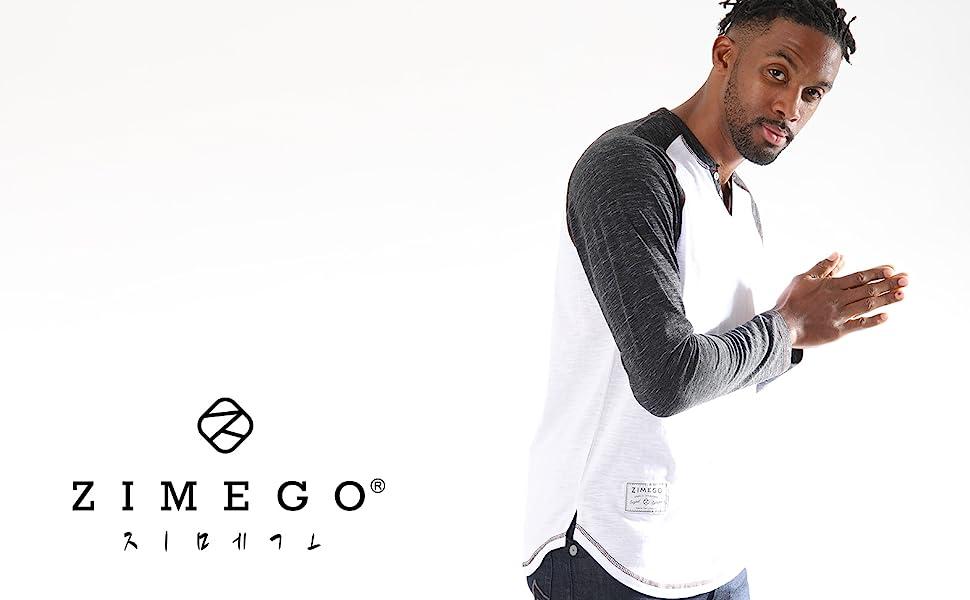 Zimego model wearing colorblock raglan henley shirt