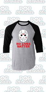 Pop Threads Horror Movie Scary Funny Halloween Jason Retro 80s Raglan Baseball Tee Shirt