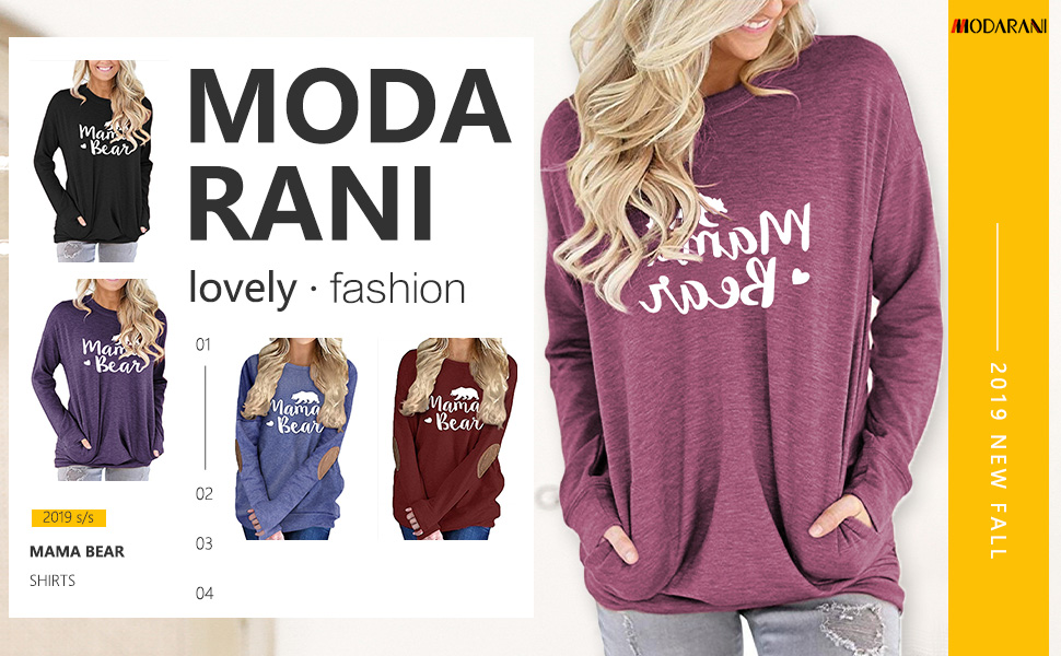 MODARANI mama t shirts for women long sleeve casual loose tops pocket tee shirt round neck tunics
