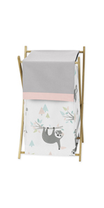 Sweet Jojo Designs Pink and Grey Jungle Sloth Leaf Baby Kid Clothes Laundry Hamper