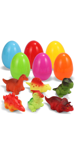 6 Pcs Pre Filled Easter Eggs with Dinosaur Bath Toys