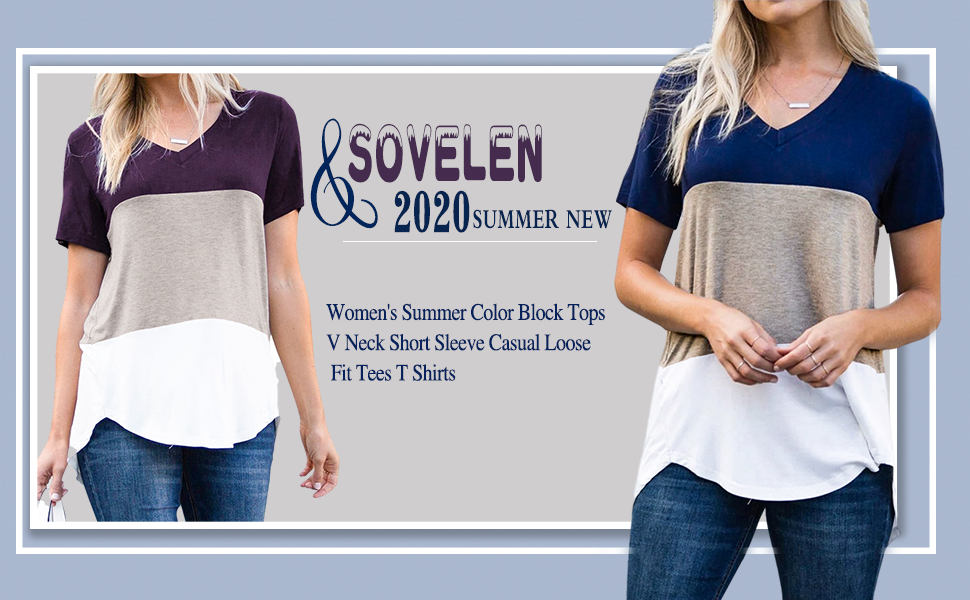 Sovelen Women's Summer Color Block Tops V Neck Short Sleeve Casual Loose Fit Tees T Shirts