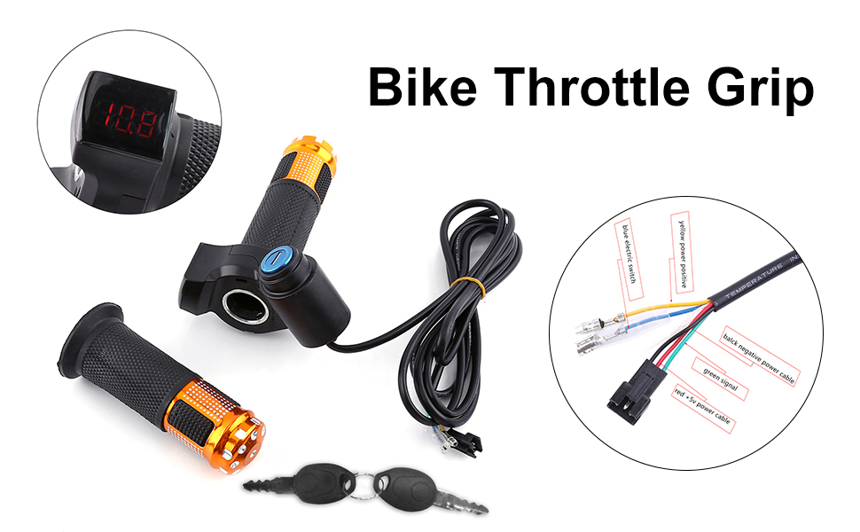 Bike Throttle Grip, 4 Colors Twist Throttle Grips with LED Display Screen Handle with Key Knock