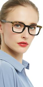 square black leopard print reading glasses